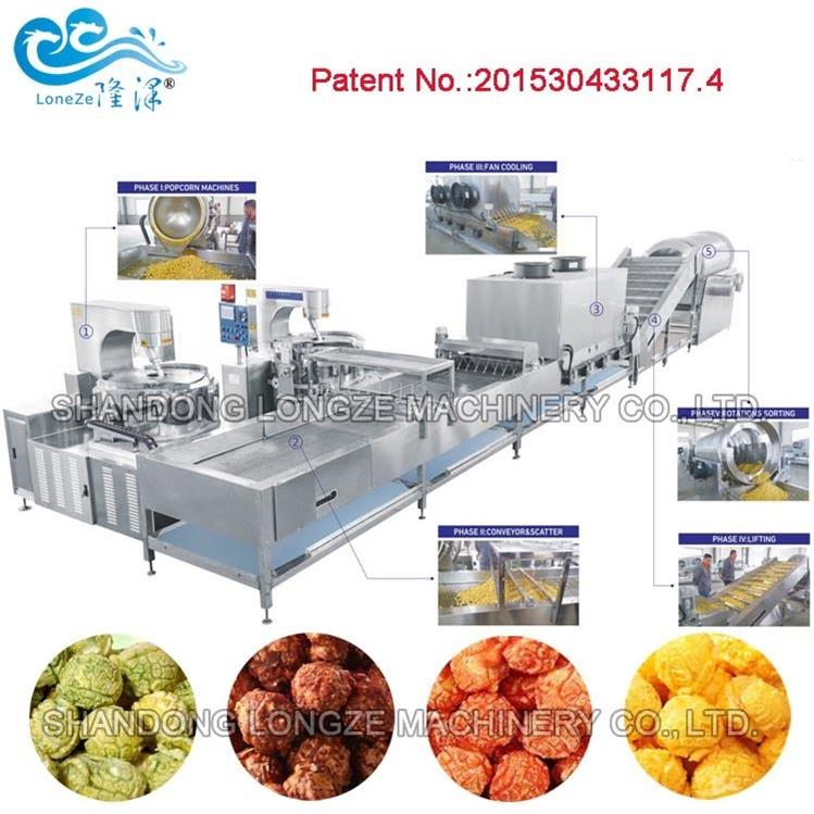 Commercial Sugar Coating/Cooling/Scatter Automatic Popcorn Processing Production Line